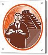 African American Businessman Protect Pyramid Acrylic Print by Aloysius Patrimonio