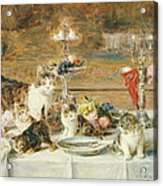 After Dinner Guests Acrylic Print by Louis Eugene Lambert
