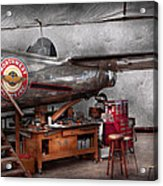 Airplane - The Repair Hanger  Acrylic Print by Mike Savad