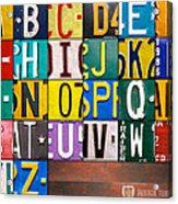 Alphabet License Plate Letters Artwork Acrylic Print by Design Turnpike