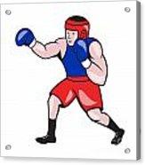 Amateur Boxer Boxing Cartoon Acrylic Print by Aloysius Patrimonio