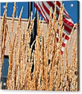 Amber Waves Of Grain And Flag Acrylic Print by Valerie Garner