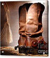 American Cowboy Boots Acrylic Print by Olivier Le Queinec