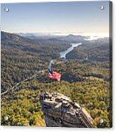 American Flag At Chimney Rock State Park North Carolina Acrylic Print by Dustin K Ryan