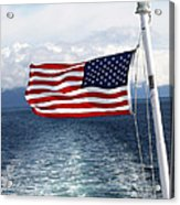 American Flag Blowing In The Wind At Sea Acrylic Print by Jessica Foster