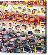American Flag In Water Drops Acrylic Print by Paul Ge