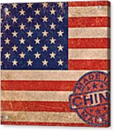 American Flag Made In China Acrylic Print by Tony Rubino
