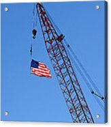 American Flag On Construction Crane Acrylic Print by Olivier Le Queinec