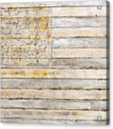 American Flag On Distressed Wood Beams White Yellow Gray And Brown Flag Acrylic Print by Design Turnpike