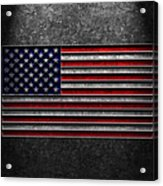 American Flag Stone Texture Acrylic Print by Brian Carson