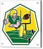 American Football Wide Receiver Catching Ball Cartoon Acrylic Print by Aloysius Patrimonio