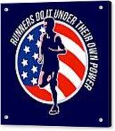 American Marathon Runner Running Power Retro Acrylic Print by Aloysius Patrimonio