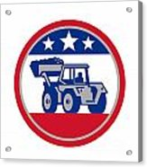 American Mechanical Digger Excavator Retro Acrylic Print by Aloysius Patrimonio