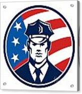 American Policeman Security Guard Retro Acrylic Print by Aloysius Patrimonio