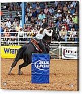 American Rodeo Female Barrel Racer Dark Horse Iv Acrylic Print by Sally Rockefeller