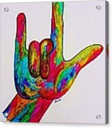 American Sign Language I Love You Acrylic Print by Eloise Schneider