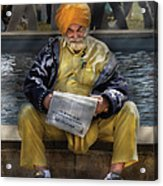 Americana - People - Casually Reading A Newspaper Acrylic Print by Mike Savad