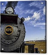 Amish Farmland And Brilliant Blue Sky Frame #475 Steam Engine - Strasburg Rr   02 Acrylic Print by Mark Serfass