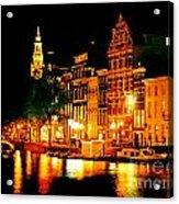 Amsterdam At Night Four Acrylic Print by John Malone