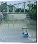 An Evening  Boat Ride On Lachine Canal Acrylic Print by Reb Frost