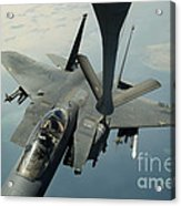 An F-15e Strike Eagle Receives Fuel Acrylic Print by Stocktrek Images
