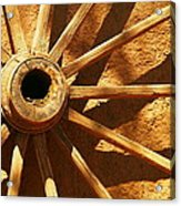 An Old Wagon Wheel In Carillos New Mexico Acrylic Print by Jeff Swan
