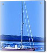 Anchored In The Bay Acrylic Print by Laurie Pike