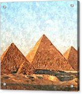 Ancient Egypt The Pyramids At Giza Acrylic Print by Gianfranco Weiss
