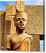Ancient Face Of A Pharaoh At Karnak Acrylic Print by Mark E Tisdale