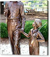 Andy And Opie Statue Nc Acrylic Print by Frank Savarese
