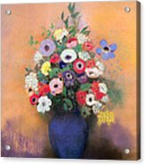 Anemones And Lilac In A Blue Vase Acrylic Print by Odilon Redon