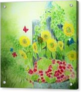 Angel With Butterflies And Sunflowers Acrylic Print by Melanie Palmer