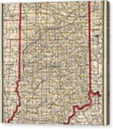Antique Map Of Indiana By George Franklin Cram - 1888 Acrylic Print by Blue Monocle