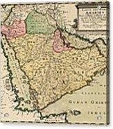 Antique Map Of Saudi Arabia And The Arabian Peninsula By Nicolas Sanson - 1654 Acrylic Print by Blue Monocle
