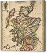 Antique Map Of Scotland By Fielding Lucas - Circa 1817 Acrylic Print by Blue Monocle