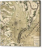 Antique Map Of The Battle Of Yorktown Virginia By Esnauts Et Rapilly - Circa 1781 Acrylic Print by Blue Monocle