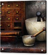 Apothecary - Pestle And Drawers Acrylic Print by Mike Savad