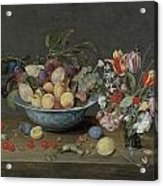 Apricots Plums And Grapes In A Bowl Acrylic Print by Jacob Van Hulsdonck