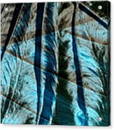 Aqua And Brown Leaf Montage Acrylic Print by Bonnie Bruno