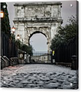Arch Of Titus Morning Glow Acrylic Print by Joan Carroll