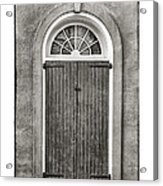 Arched Door In French Quarter In Black And White Acrylic Print by Brenda Bryant