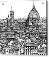 Architecture Of Florence Skyline In Ink  Acrylic Print by Adendorff Design
