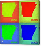 Arkansas Pop Art Map 1 Acrylic Print by Naxart Studio