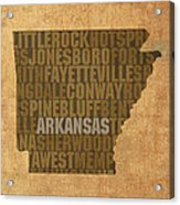 Arkansas Word Art State Map On Canvas Acrylic Print by Design Turnpike