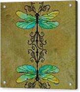 Art Nouveau Damselflies Acrylic Print by Jenny Armitage