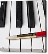 Artist Brush On Piano Keys Acrylic Print by Garry Gay