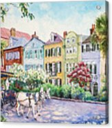 Assault And Battery On Rainbow Row Acrylic Print by Alice Grimsley