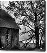 At The Barn In Bw Acrylic Print by Julie Dant