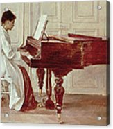 At The Piano Acrylic Print by Theodore Robinson