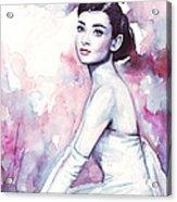 Audrey Hepburn Purple Watercolor Portrait Acrylic Print by Olga Shvartsur